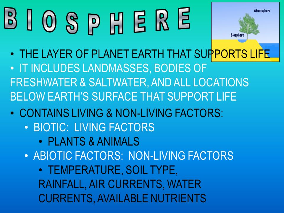 THE LAYER OF PLANET EARTH THAT SUPPORTS LIFE IT INCLUDES LANDMASSES, BODIES OF FRESHWATER & SALTWATER, AND ALL LOCATIONS BELOW EARTH'S SURFACE THAT SUPPORT LIFE CONTAINS LIVING & NON-LIVING FACTORS: BIOTIC: LIVING FACTORS PLANTS & ANIMALS ABIOTIC FACTORS: NON-LIVING FACTORS TEMPERATURE, SOIL TYPE, RAINFALL, AIR CURRENTS, WATER CURRENTS, AVAILABLE NUTRIENTS
