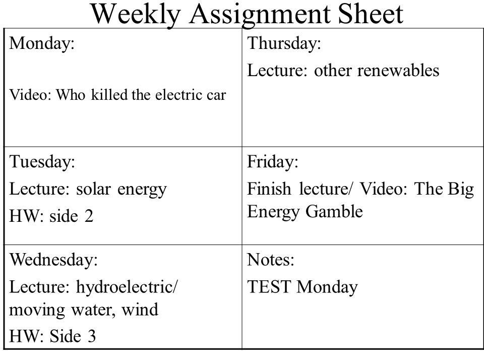 Weekly Assignment Sheet Monday 831Thursday 93 WELCOME – Who Killed the Electric Car Worksheet