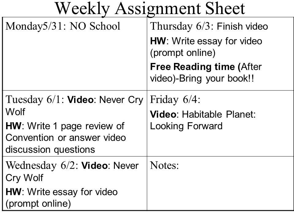 weekly assignment sheet monday thursday welcome  37 weekly assignment