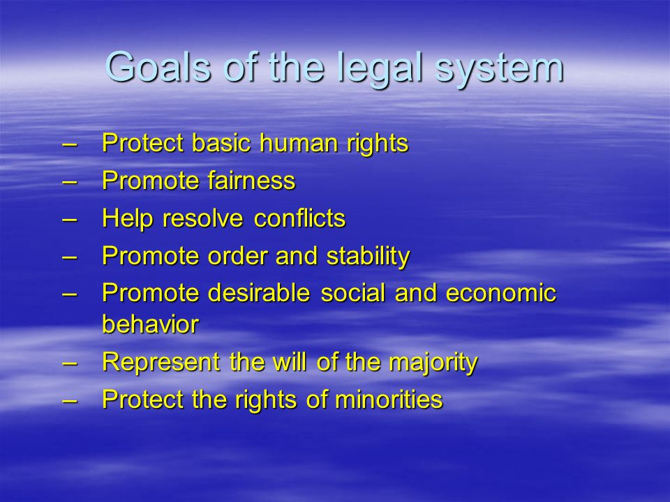 Goals of the legal system –Protect basic human rights –Promote fairness –Help resolve conflicts –Promote order and stability –Promote desirable social and economic behavior –Represent the will of the majority –Protect the rights of minorities