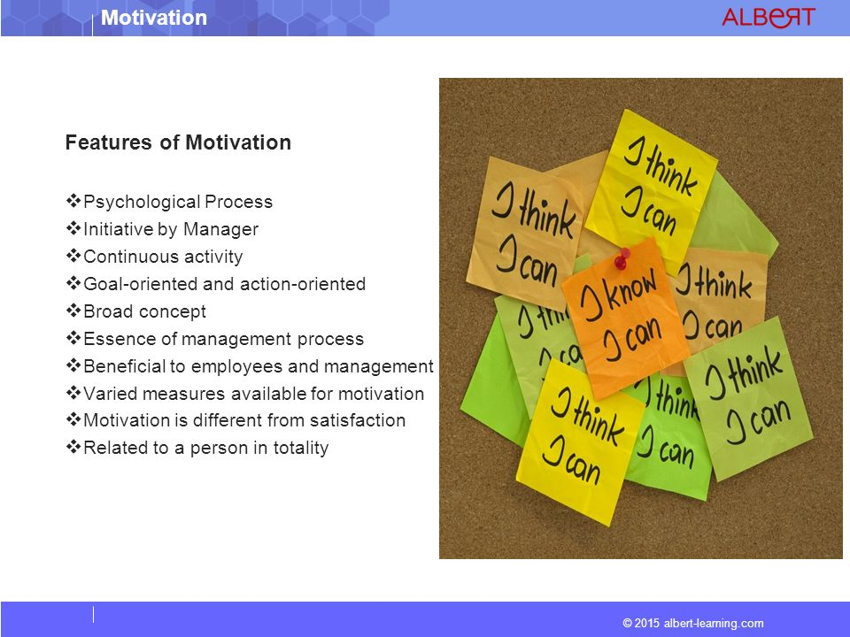 © 2015 albert-learning.com Motivation Advantages of Motivation A) Advantages of Motivation to Management / Organization  Increase in the efficiency and productivity of employees.