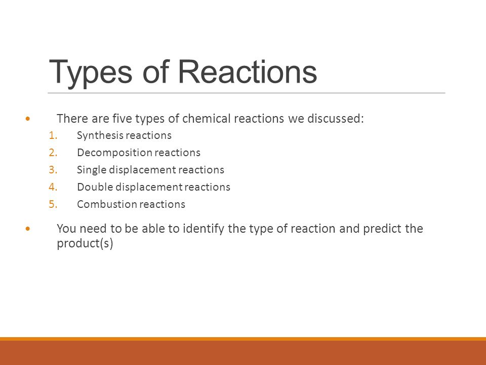 Chemical Reactions Types of Reactions There are five types of – Decomposition Reactions Worksheet
