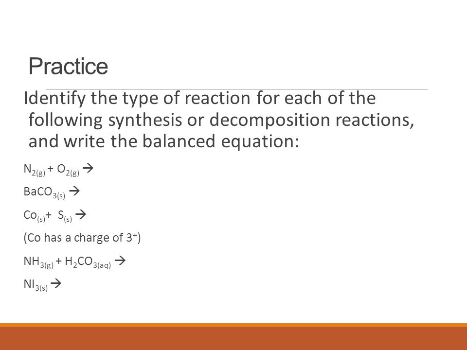 Chemical Reactions Types of Reactions There are five types of – Synthesis and Decomposition Reactions Worksheet