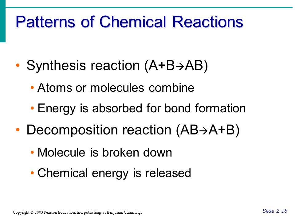Patterns of Chemical Reactions Slide 2.18 Copyright © 2003 Pearson Education, Inc.
