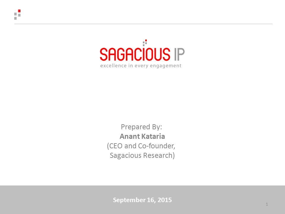 September 16, 2015 1 Prepared By: Anant Kataria (CEO and Co-founder, Sagacious Research)