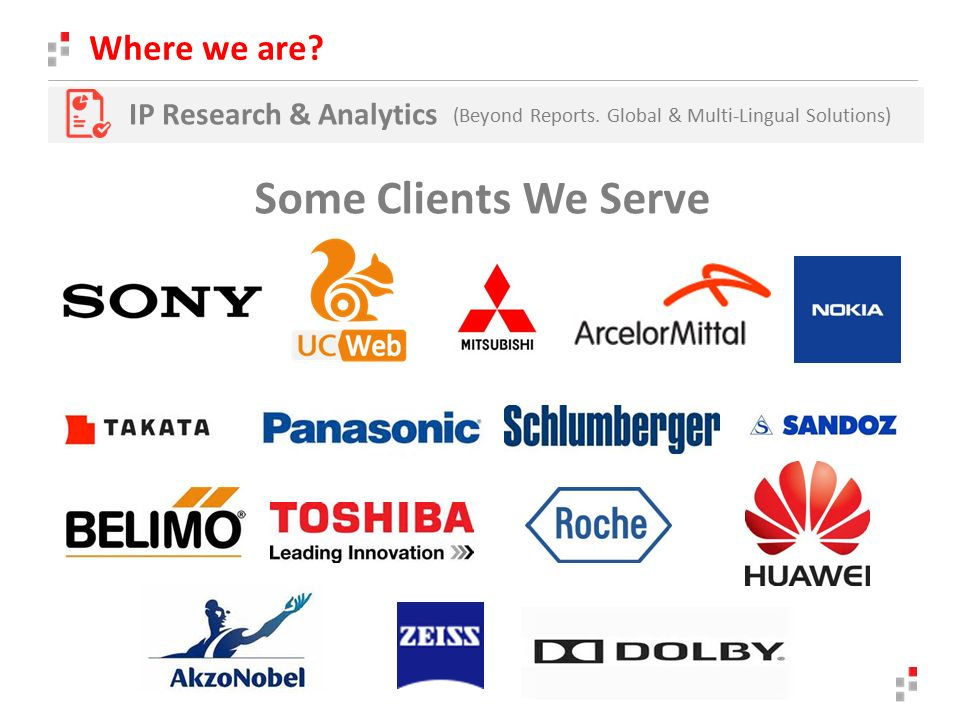 Where we are. IP Research & Analytics (Beyond Reports.