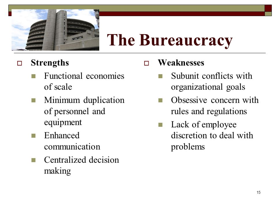 The Bureaucracy  Strengths Functional economies of scale Minimum duplication of personnel and equipment Enhanced communication Centralized decision m