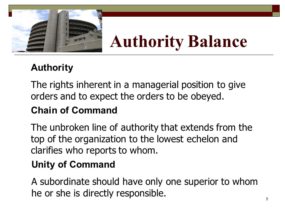 Authority Balance Chain of Command The unbroken line of authority that extends from the top of the organization to the lowest echelon and clarifies wh
