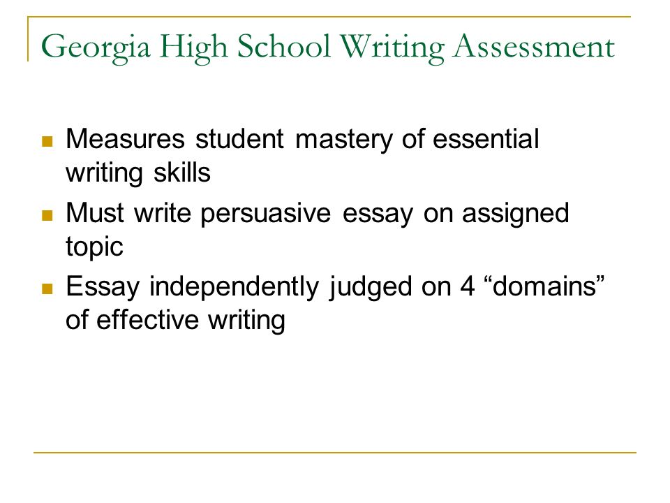Business Format Essay  Georgia High School Writing  The Yellow Wallpaper Analysis Essay also Essay Vs Paper  Th Grade Persuasive Writing Georgia High School Graduation  Example Of A College Essay Paper