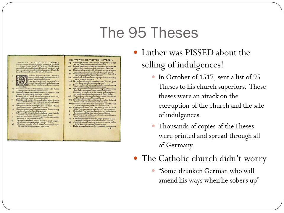 summary of luthers 95 thesis Martin luther's 95 theses - what did the theses say read the text of luther's theses and understand his dispute with the roman catholic church.