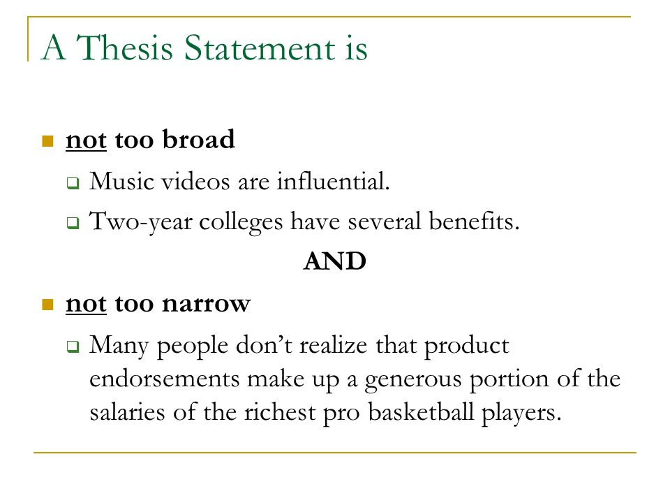 Two key concepts that will help write an effective thesis statement