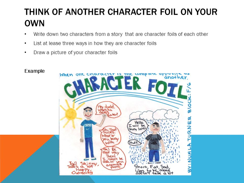 how to write a character foil essay Macbeth's character analysis essay essaysthroughout the play macbeth written by william shakespeare, macbeth shows himself to be a man of many sides macbeth displays three character traits –bravery, ambition, and self-doubt – during the play.