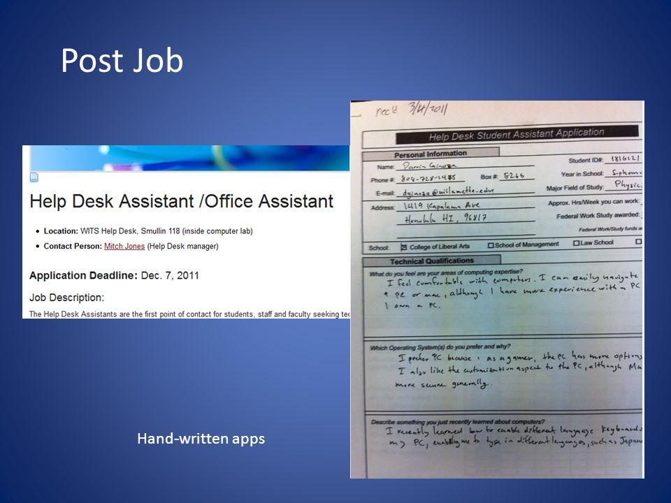 3 Post Job Hand Written S