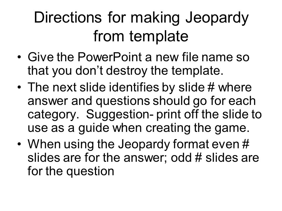 directions for making jeopardy from template give the powerpoint a, Powerpoint templates