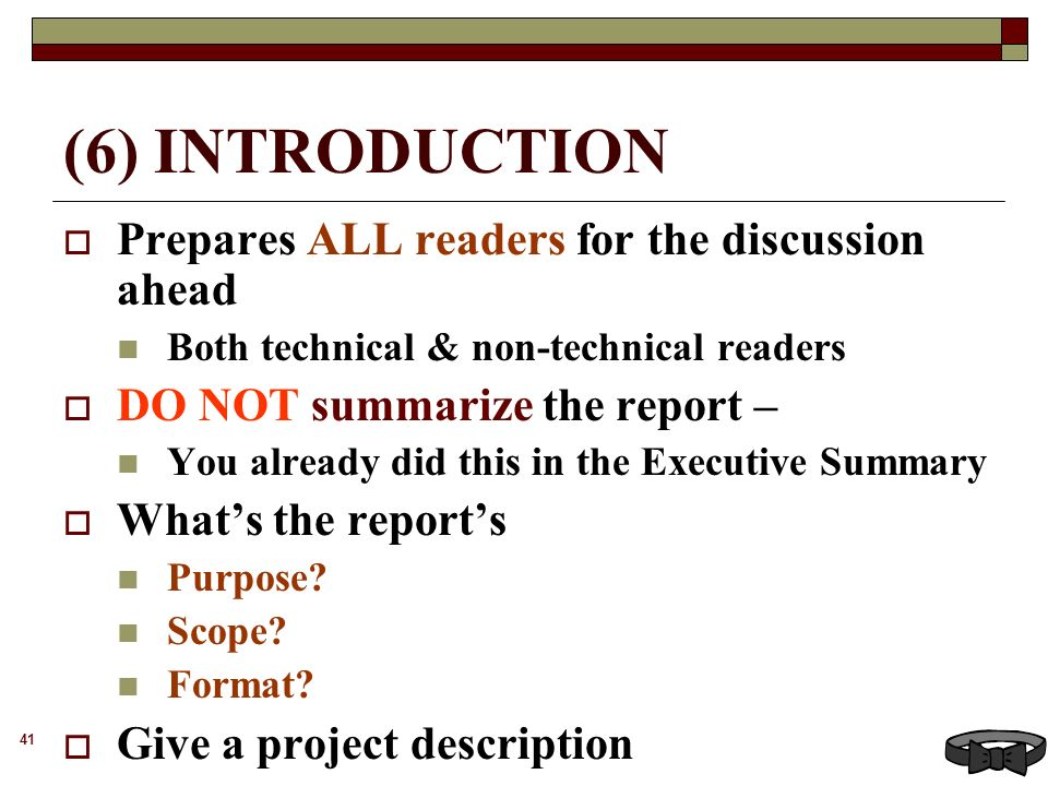 FORMAL REPORTS 2 DEFINITION and EXAMPLES 3 I DEFINITION Formal – Executive Summary Format for Project Report