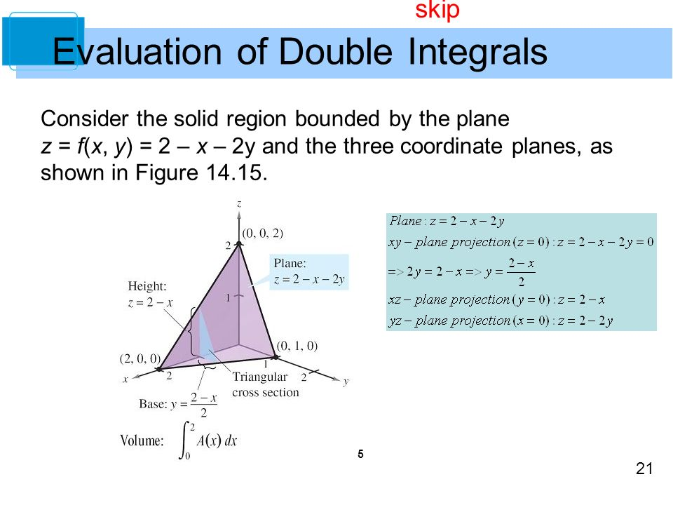 21 Evaluation of Double Integrals Consider the solid region bounded by the plane z = f(x, y) = 2 – x – 2y and the three coordinate planes, as shown in Figure