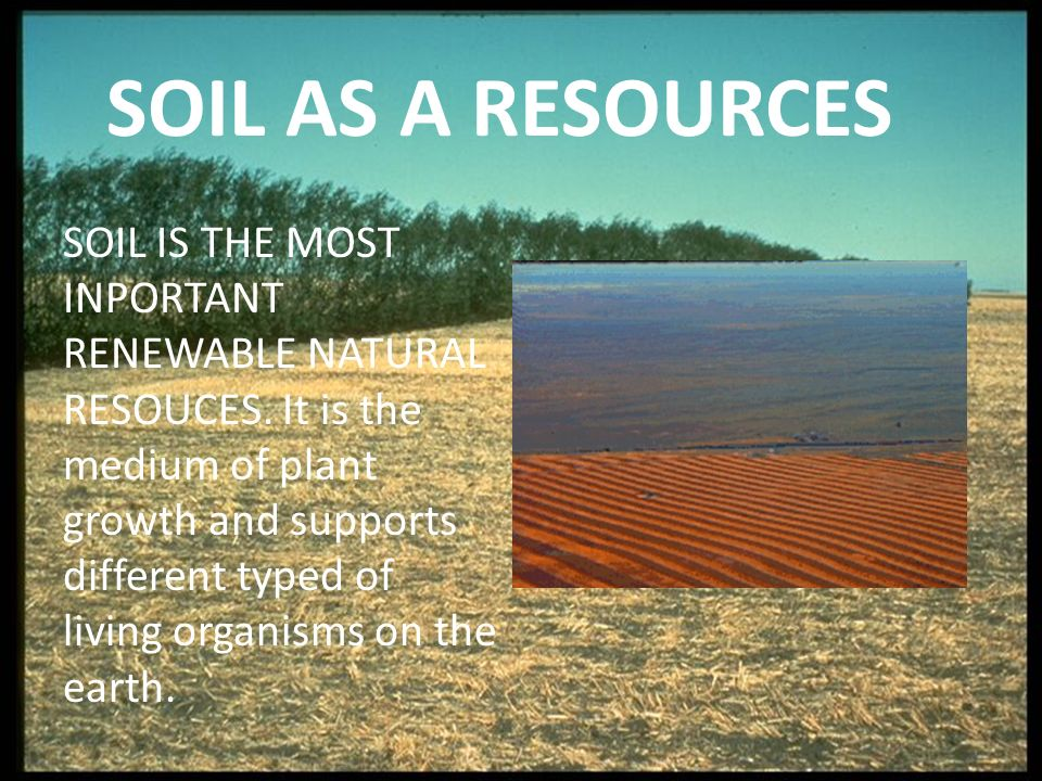 SOIL AS A RESOURCES SOIL IS THE MOST INPORTANT RENEWABLE NATURAL RESOUCES.
