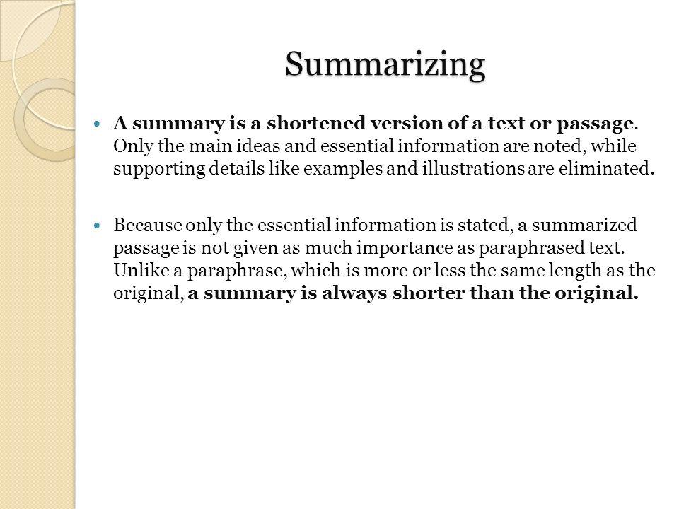 Summarizing a text