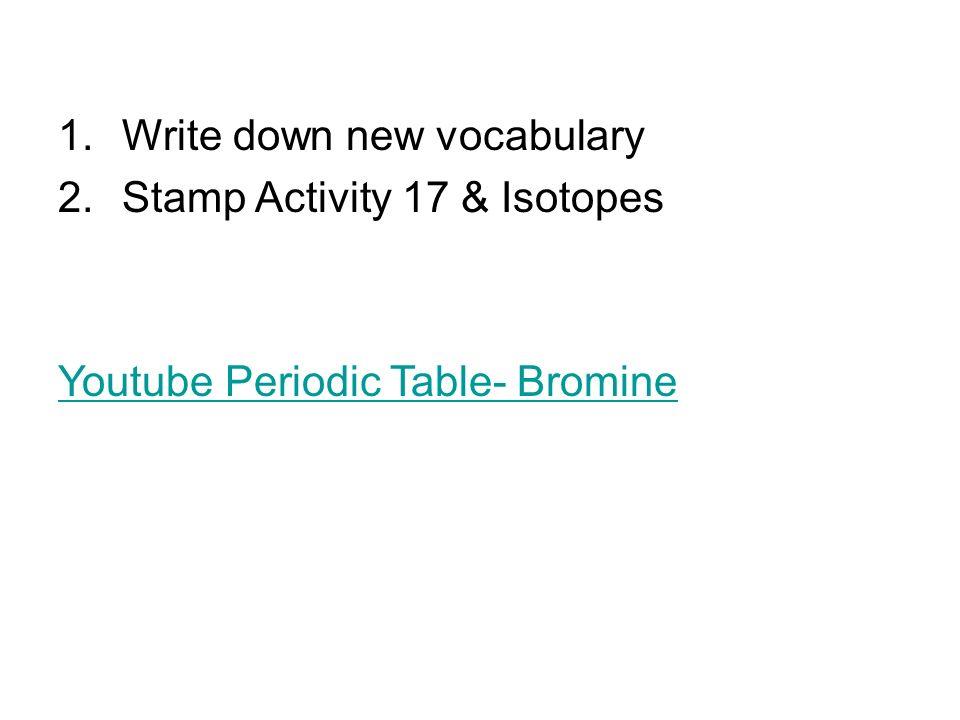 1write down new vocabulary 2amp activity 17 isotopes youtube write down new vocabulary 2amp activity 17 isotopes youtube periodic table bromine urtaz Choice Image