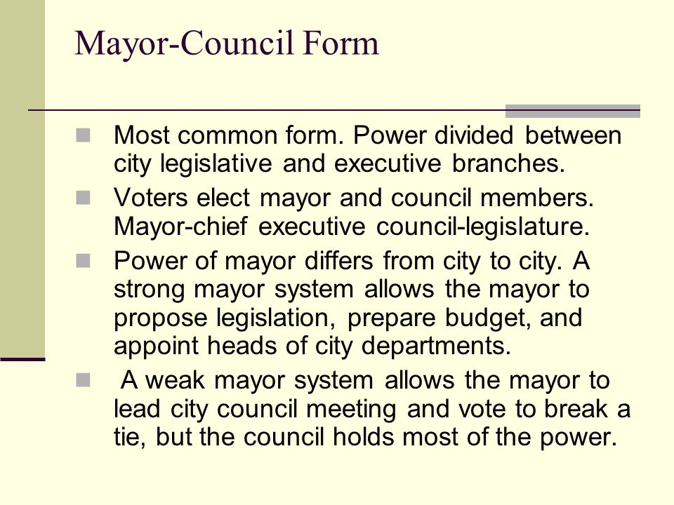 Forms of City Governments. Starter List 3 similarities between the ...