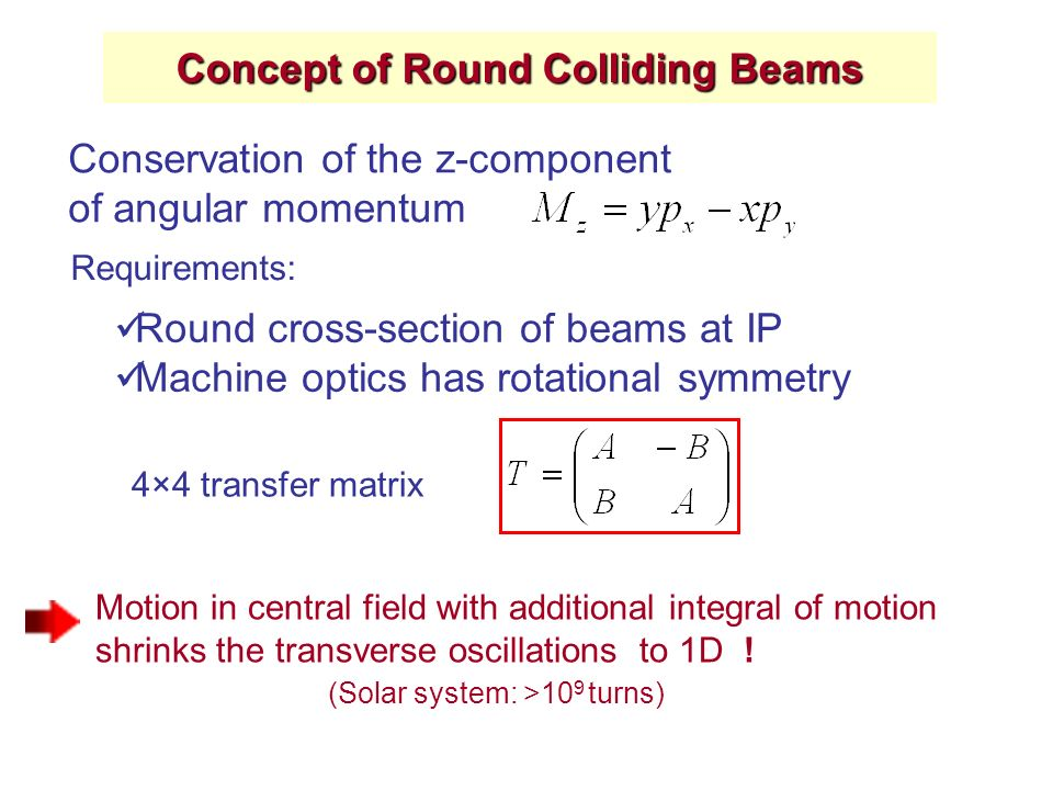 Concept of Round Colliding Beams Conservation of the z-component of angular momentum Motion in central field with additional integral of motion shrinks the transverse oscillations to 1D .