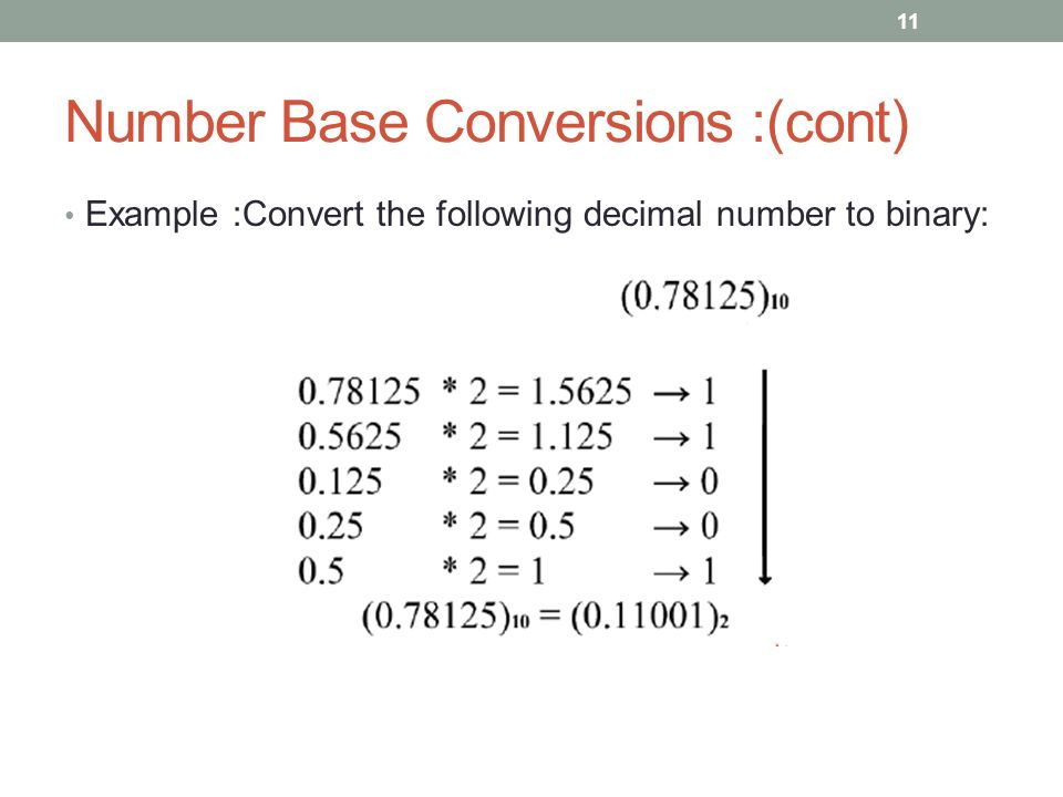 Number Base Conversions :(cont) Example :Convert the following decimal number to binary: 11