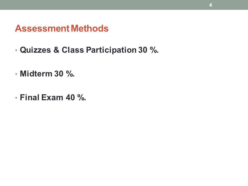 Assessment Methods Quizzes & Class Participation 30 %. Midterm 30 %. Final Exam 40 %. 4
