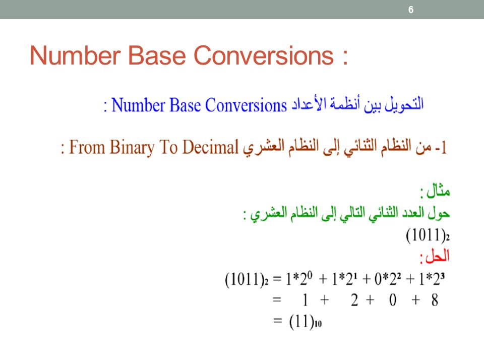 Number Base Conversions : 6