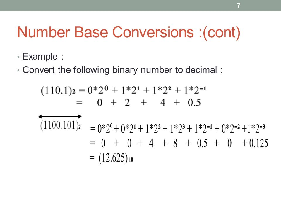Number Base Conversions :(cont) Example : Convert the following binary number to decimal : 7