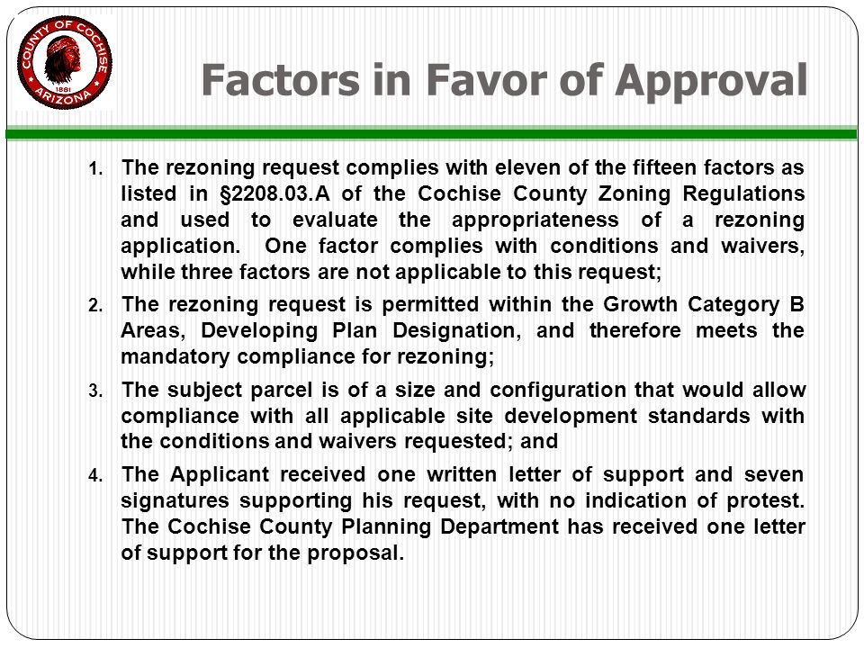 Factors In Favor Of Approval 1