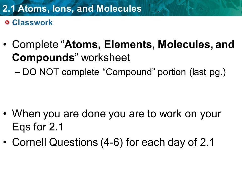 Atoms and molecules worksheet pdf