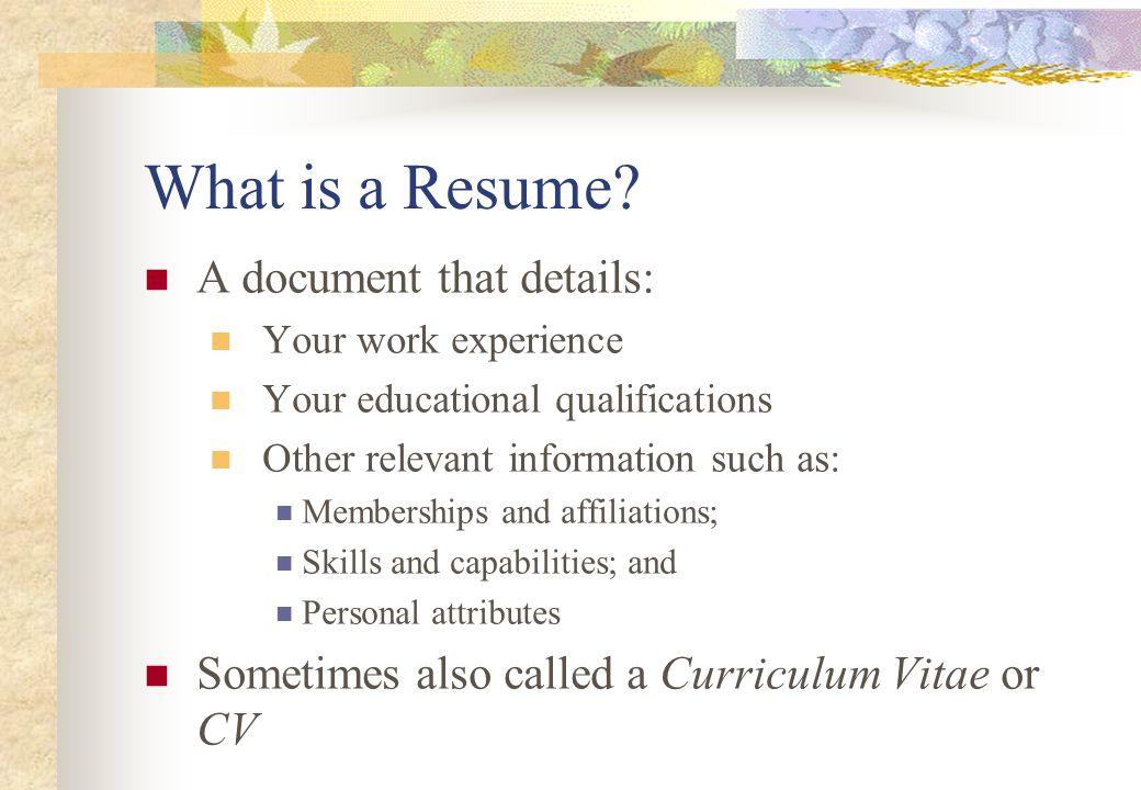 resume attributes