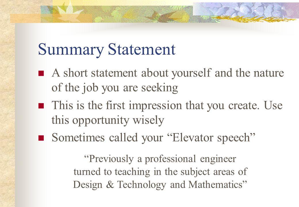 elevator speeches samples