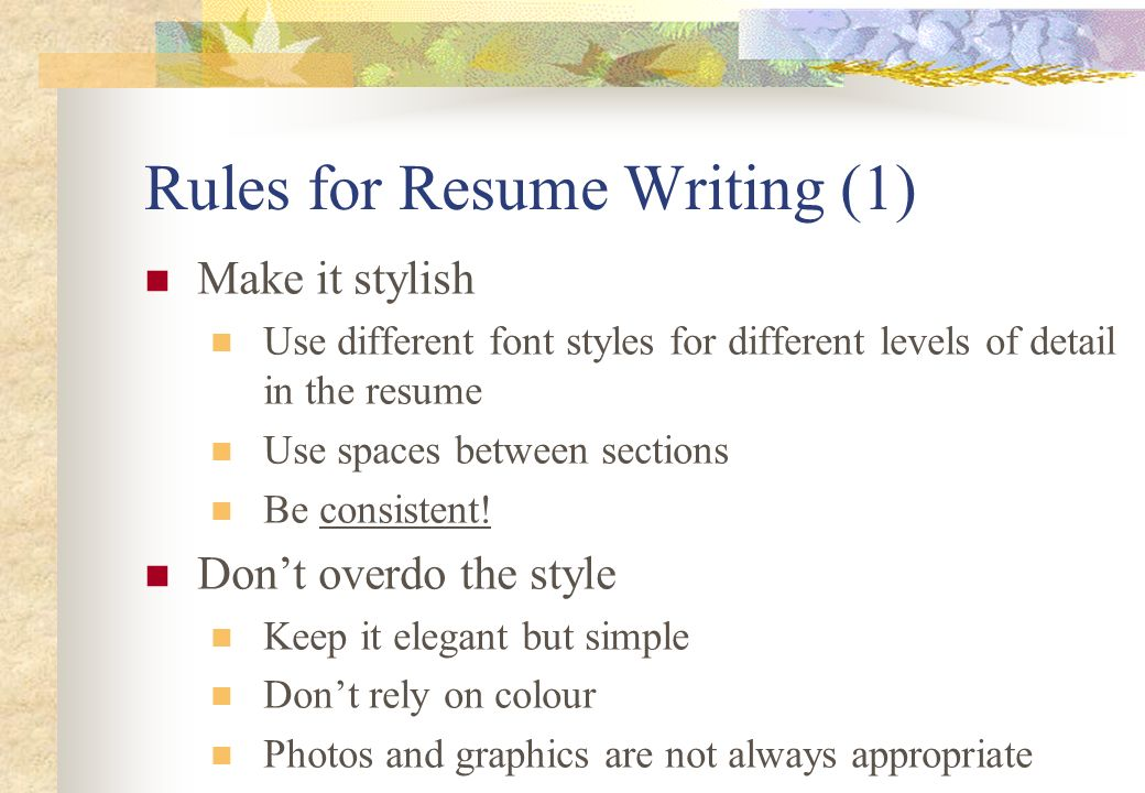 8 Rules For Resume Writing ...