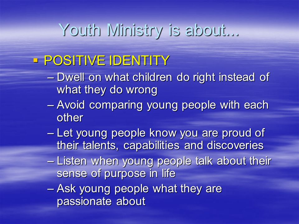 Youth Ministry is about...