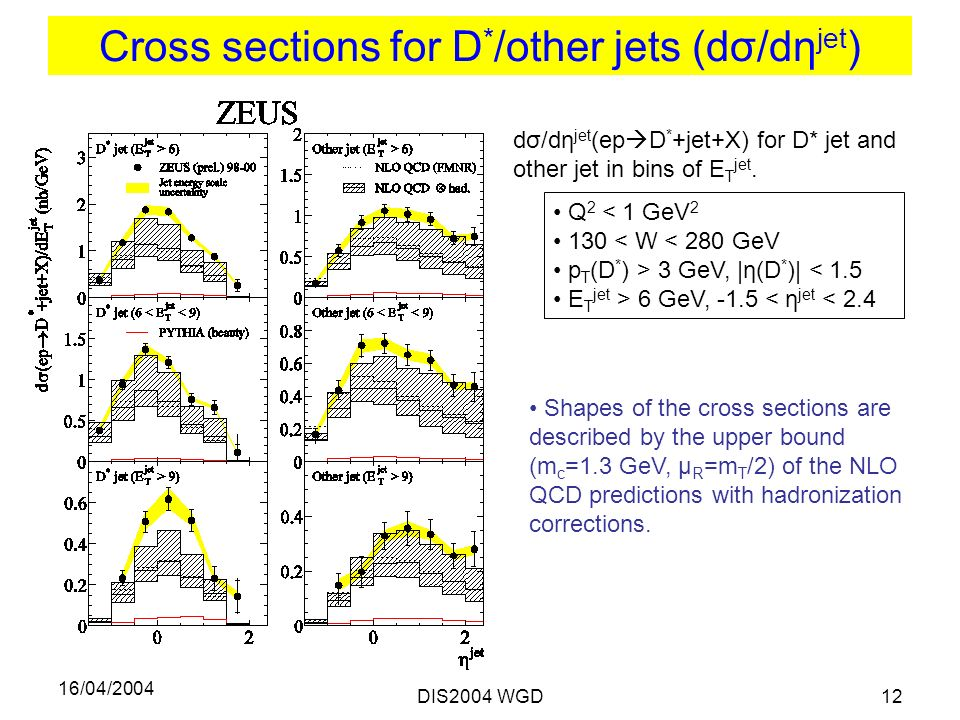 16/04/2004 DIS2004 WGD12 Cross sections for D * /other jets (dσ/dη jet ) Q 2 < 1 GeV < W < 280 GeV p T (D * ) > 3 GeV, |η(D * )| < 1.5 E T jet > 6 GeV, -1.5 < η jet < 2.4 dσ/dη jet (ep  D * +jet+X) for D* jet and other jet in bins of E T jet.