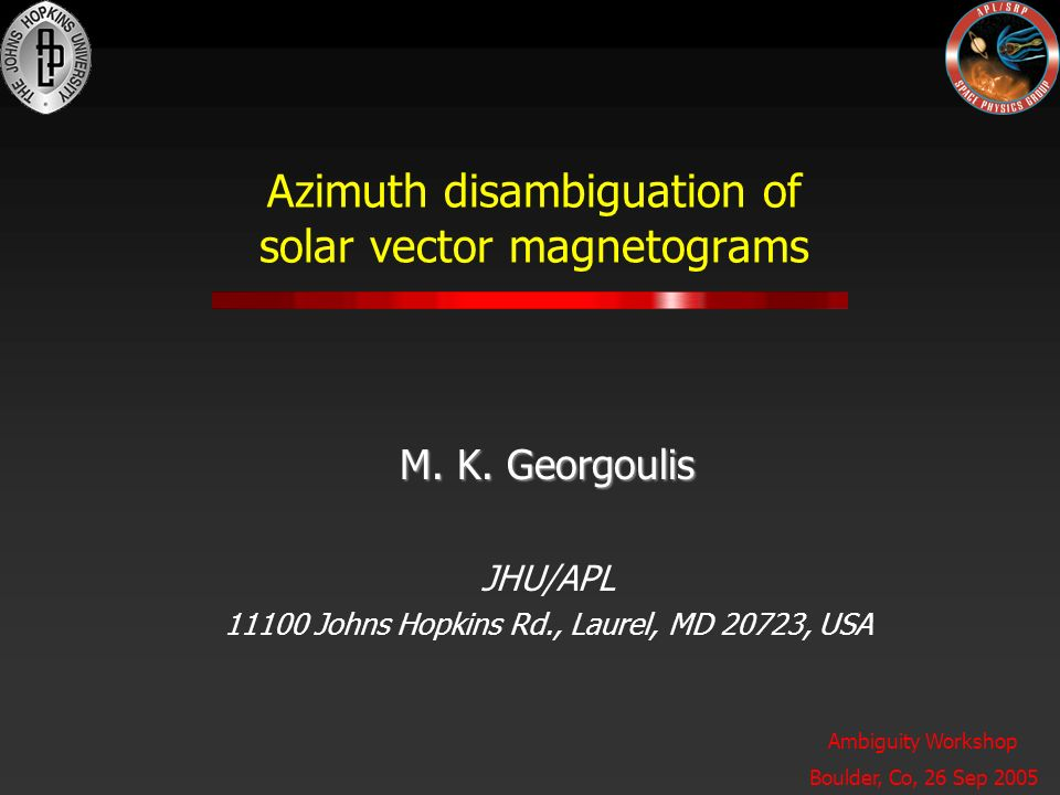 azimuth disambiguation of solar vector magnetograms m. k., Presentation templates