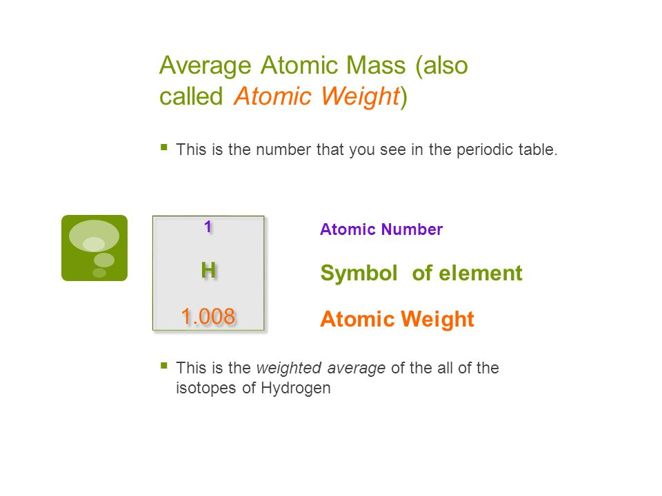 average atomic mass also called atomic weight this is the number that you - Periodic Table Hydrogen Atomic Mass