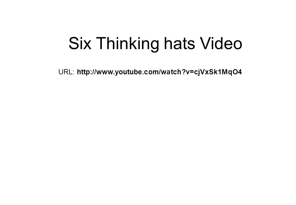 URL: http://www.youtube.com/watch?v=cjVxSk1MqO4 Six Thinking hats Video