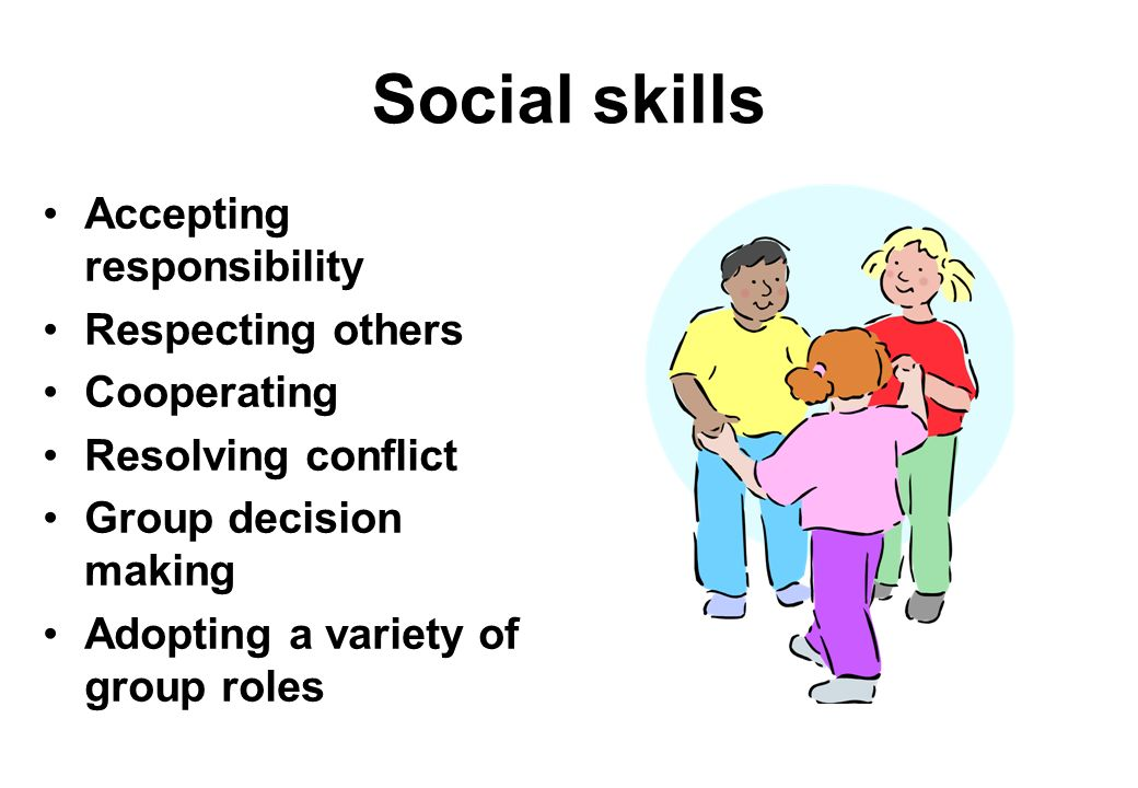 Social skills Accepting responsibility Respecting others Cooperating Resolving conflict Group decision making Adopting a variety of group roles