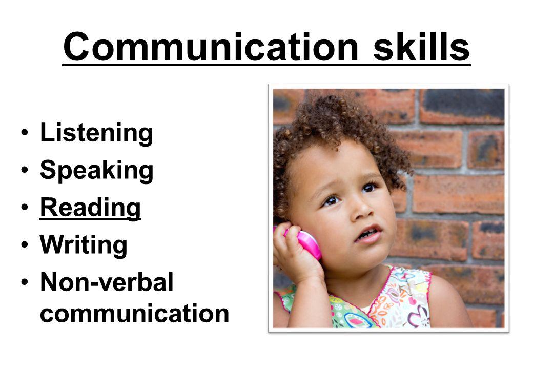 Communication skills Listening Speaking Reading Writing Non-verbal communication