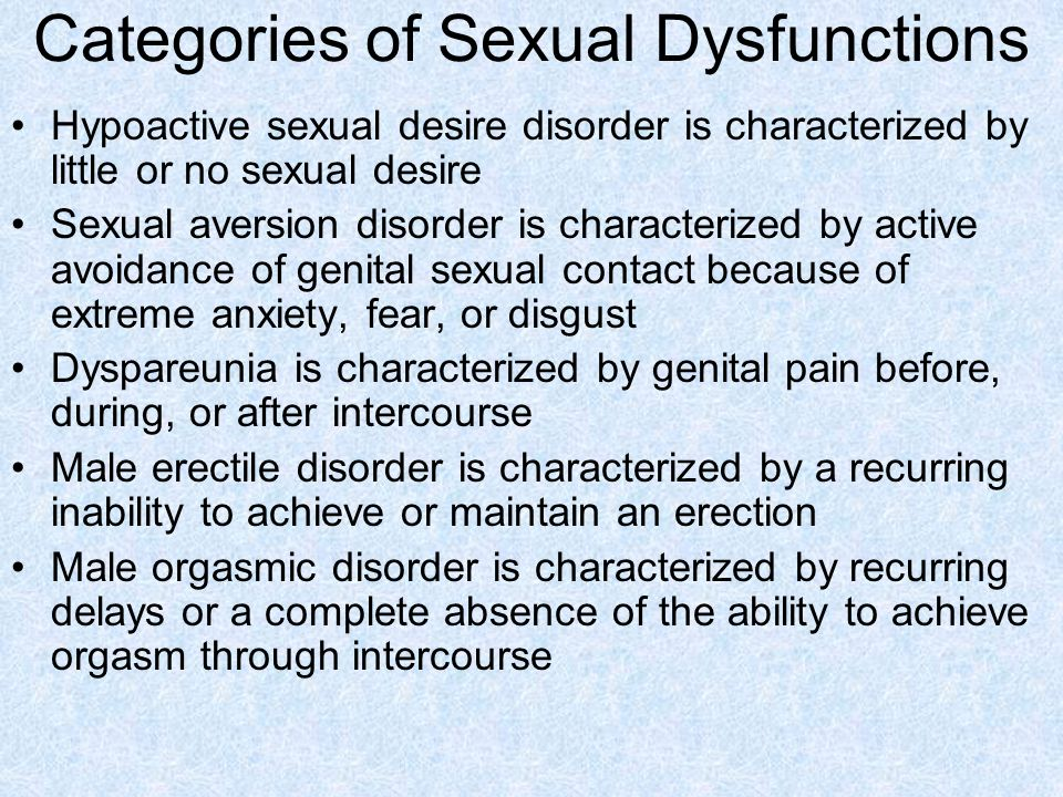 Categories of Sexual Dysfunctions Hypoactive sexual desire disorder is characterized by little or no sexual desire Sexual aversion disorder is characterized by active avoidance of genital sexual contact because of extreme anxiety, fear, or disgust Dyspareunia is characterized by genital pain before, during, or after intercourse Male erectile disorder is characterized by a recurring inability to achieve or maintain an erection Male orgasmic disorder is characterized by recurring delays or a complete absence of the ability to achieve orgasm through intercourse