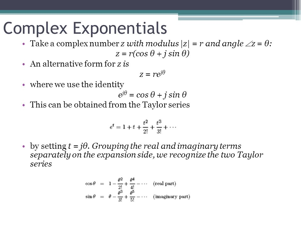 Lecture 3: Complex Exponentials; n th root of a complex number ...