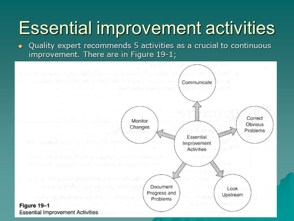 Essential improvement activities  Quality expert recommends 5 activities as a crucial to continuous improvement. There are in Figure 19-1;