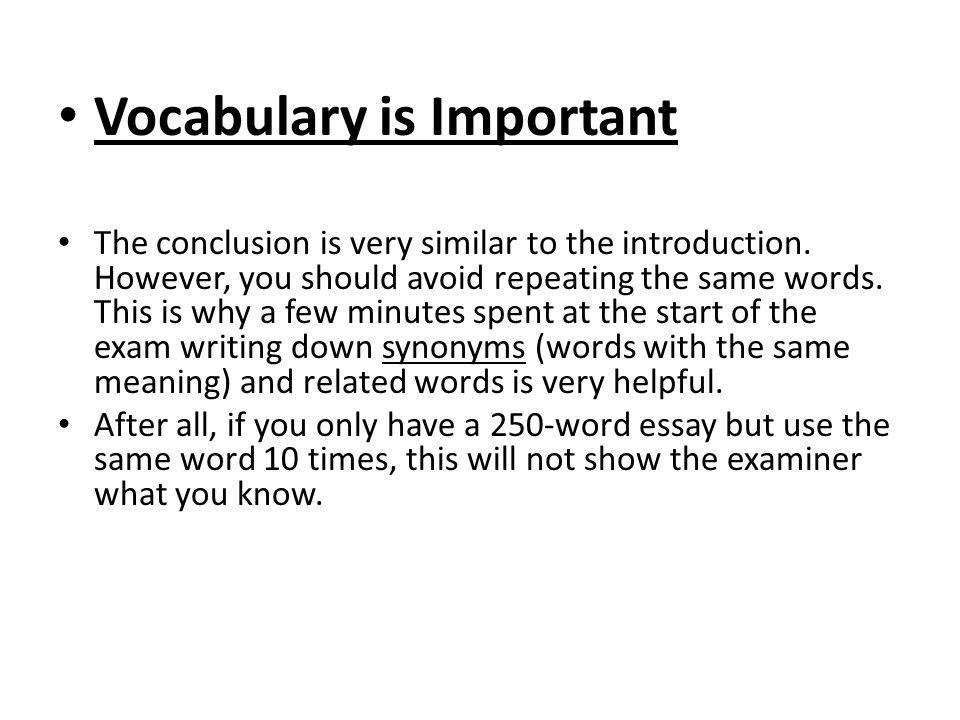 vocabulary words for essay writing