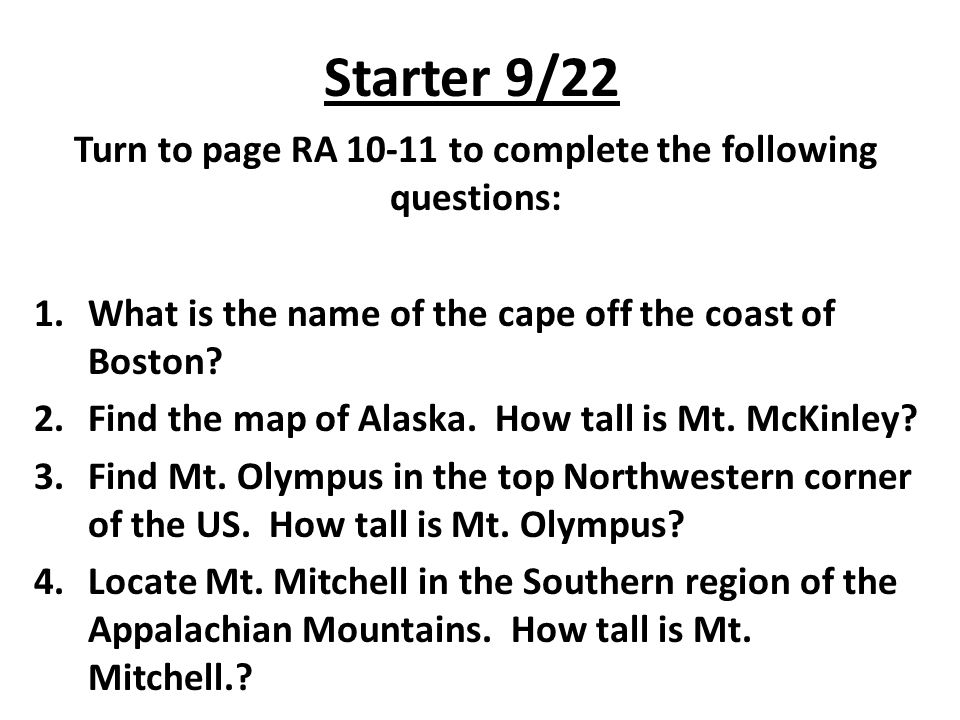 Starter 922 Turn to page RA to complete the following questions