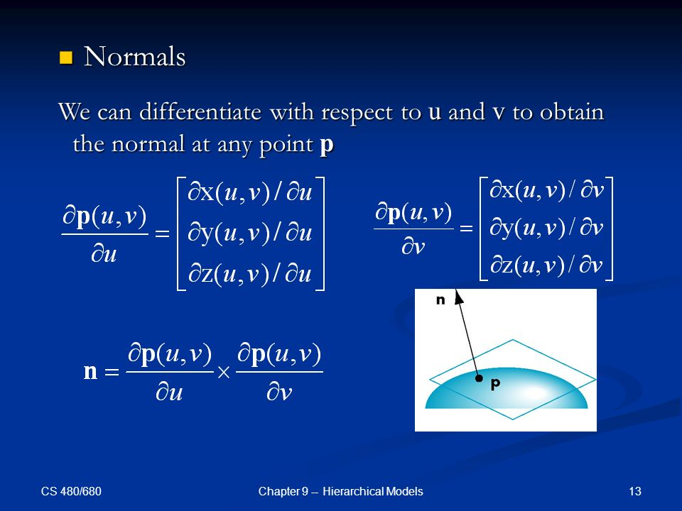 CS 480/680 13Chapter 9 -- Hierarchical Models Normals Normals We can differentiate with respect to u and v to obtain the normal at any point p
