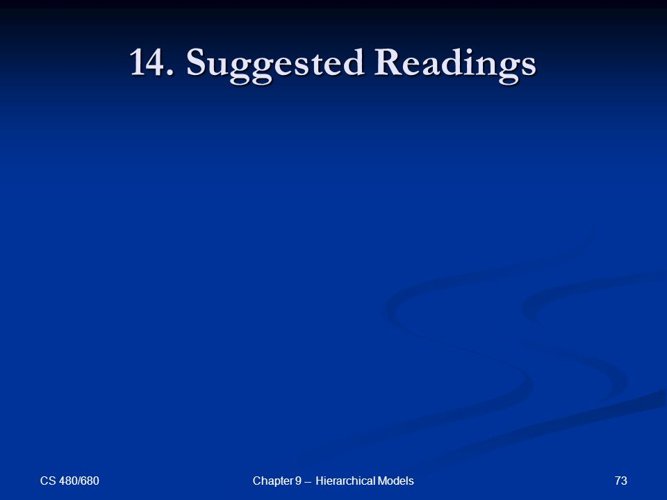 CS 480/680 73Chapter 9 -- Hierarchical Models 14. Suggested Readings