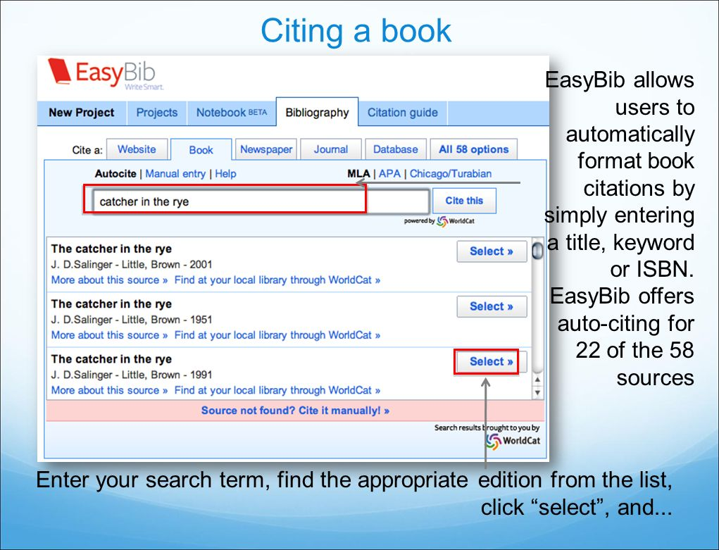easybib research guide Easybib is an automatic bibliography composer when you have sources you need to cite properly for your research paper, easybib.