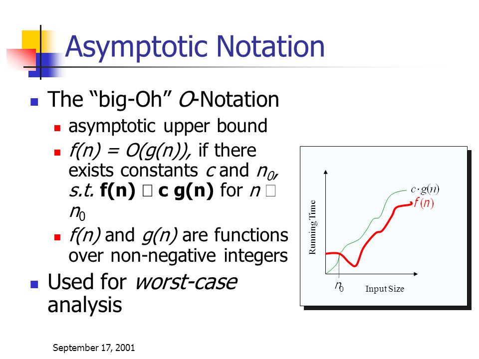 September 17, 2001 Asymptotic Notation The big-Oh O-Notation asymptotic upper bound f(n) = O(g(n)), if there exists constants c and n 0, s.t.